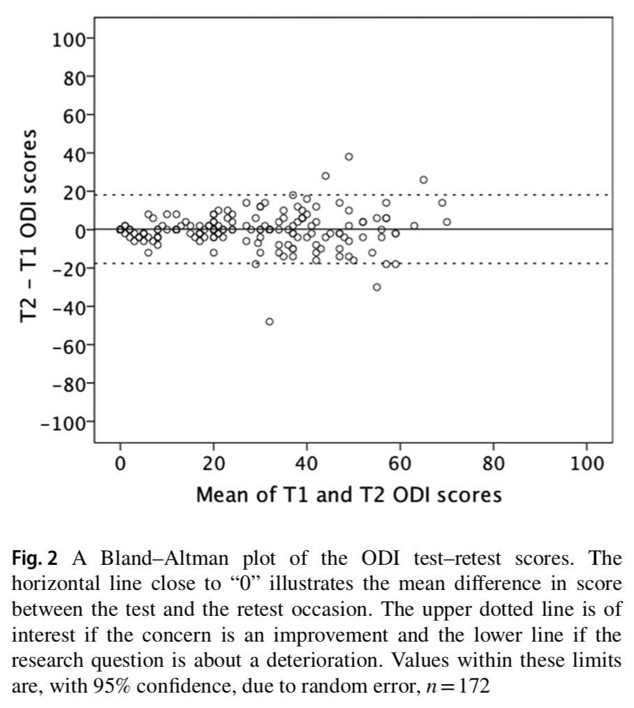 The reliability and interpretability of score change in lumbar spine research.