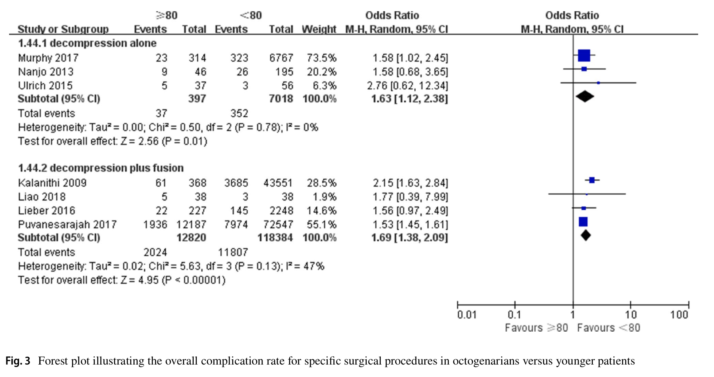 Clinical outcomes of lumbar spinal surgery in patients 80 years or older with lumbar stenosis or spondylolisthesis: a systematic review and meta-analysis